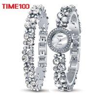 Time100 Women Bracelet Watches Fashion Quartz Watch Silver Diamond Shell Dial Ladies Wrist Watches For Women relogio feminino