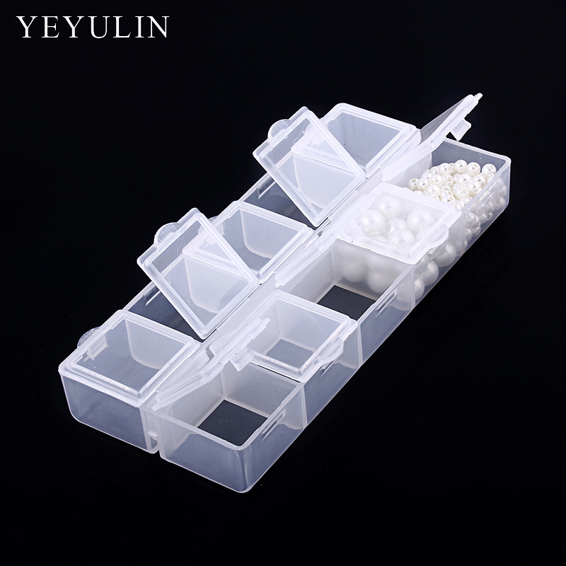 10 Grid New Design Plastic Transparent Jewelry Ring Earrings Beads Box Case Portable Organizer Storage Box