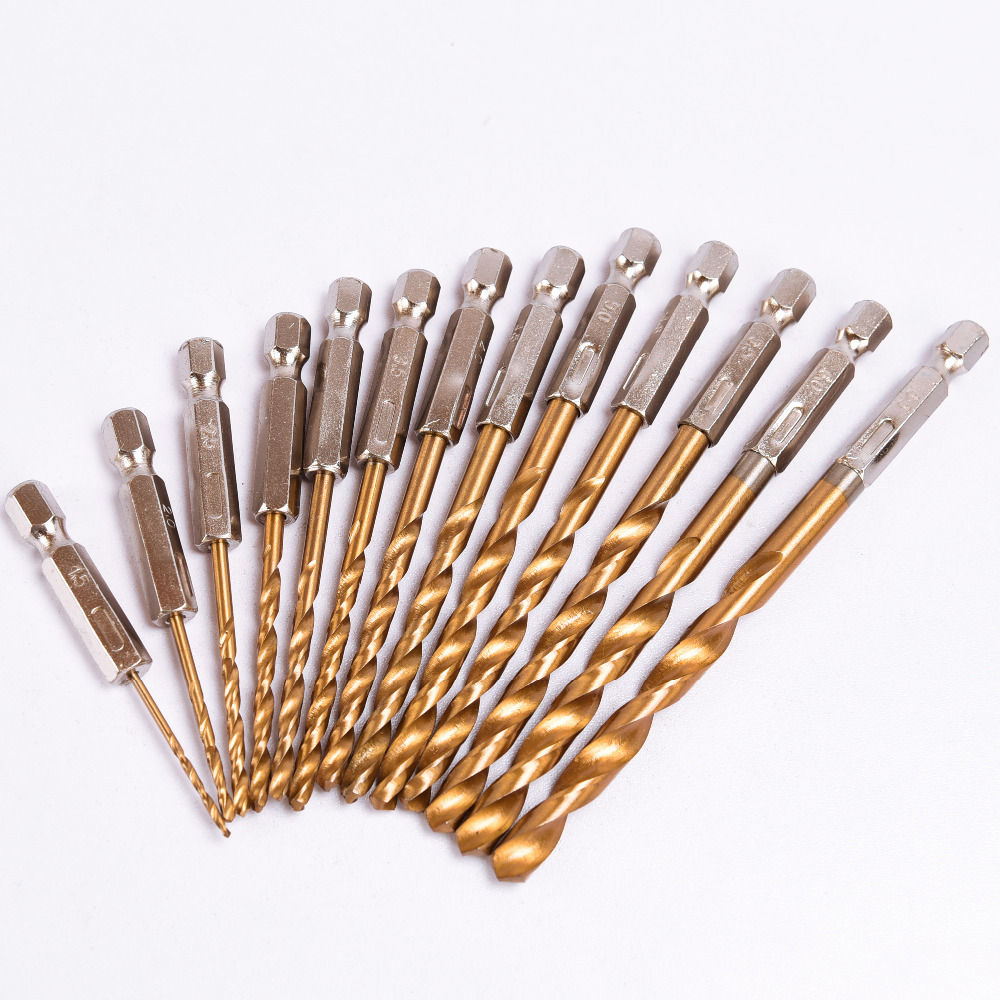 13pcs/lot HSS High Speed Steel Titanium Coated Drill Bit Set 1/4 Hex Shank 1.5-6.5mm