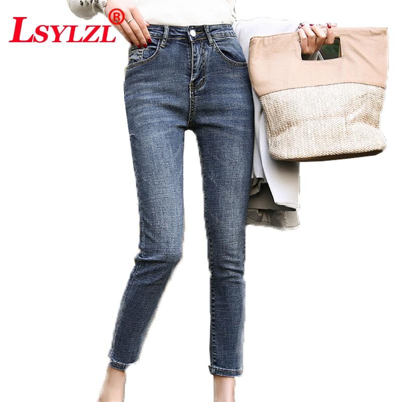 Aspirante Elegante Skinny Donna Jeans Denim Slim Pantaloni Della Matita Lavati Fresco Dei Jeans A Vita Alta Donne Femme Pantaloni C204