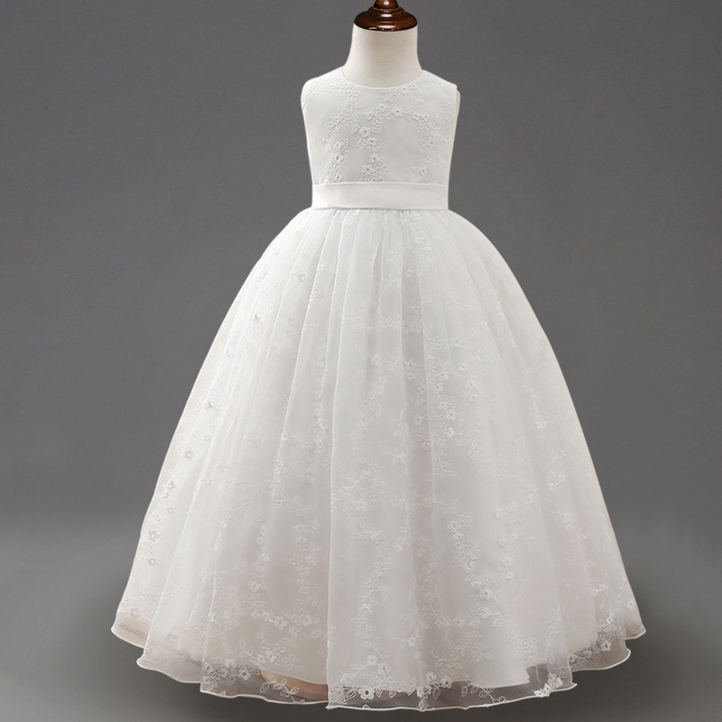 White Lace Flower Girls Dress For Wedding and Party Long Events Party Girl Birthday Dresses First Communion Cheap Pageant Gown hot sale custom cheap pageant dress for little girls lace beaded corset glitz tulle flower girl dresses first communion gown