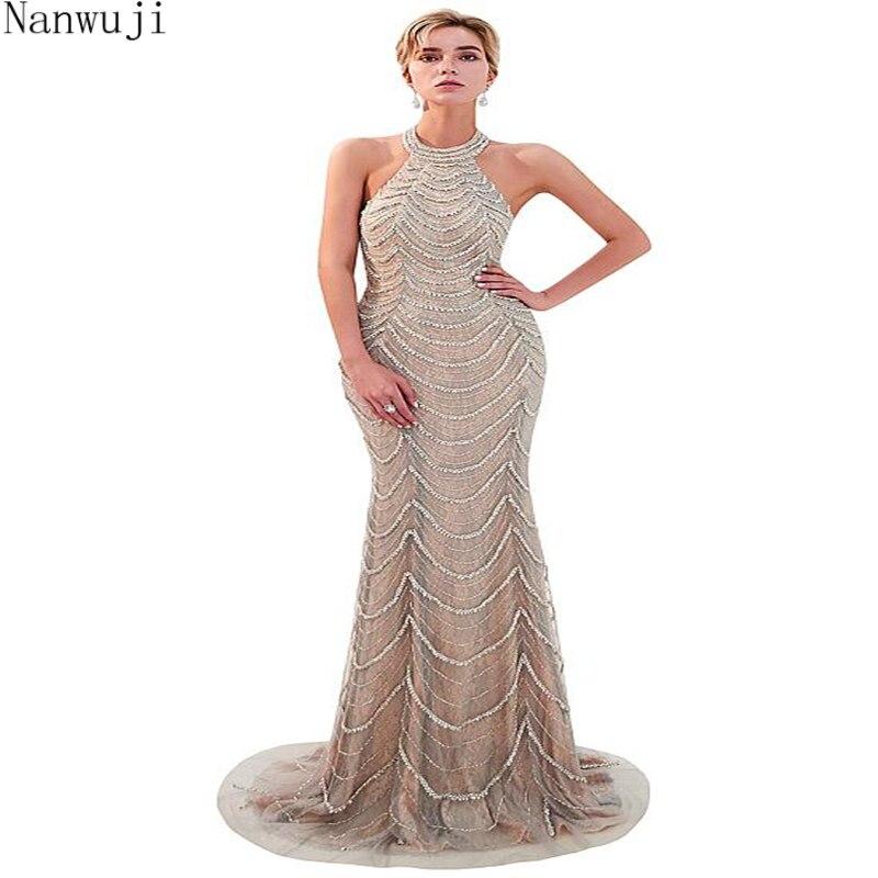 En stock nouveau licou Sexy sirène robes de soirée sans manches 2018 plein cristal bleu marine rose mode élégante robes de soirée