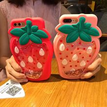 ФОТО fashion cartoon 3d quicksand liquid strawberry case for apple iphone 6g 6 6s plus rubber case for iphone 7 7 plus