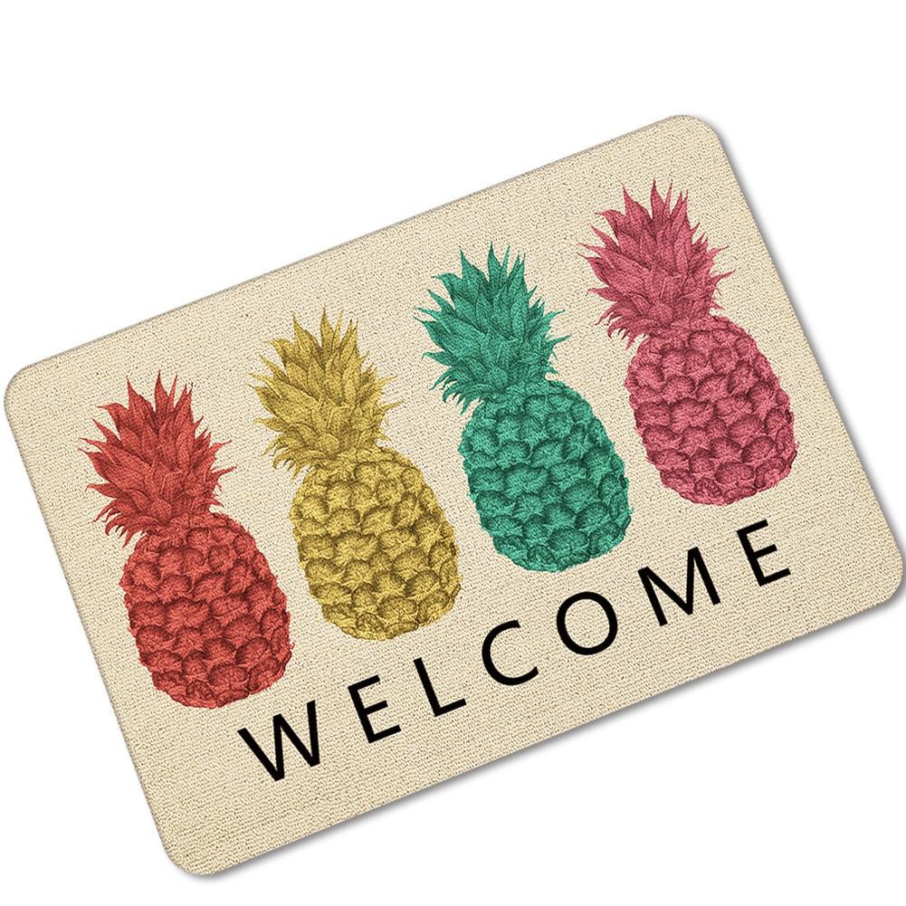 Welcome Fruits Printing Pineapple Rubber Floor Mat Water Uptake Non-slip Shower Room Kitchen Carpet Indoor Bathroom Throw Rugs