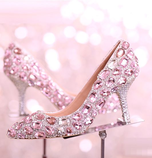 ФОТО Pink crystal pumps shoes for woman newest design 2017 TG864 fashion ladies girl party proms dress pumps shoes pink