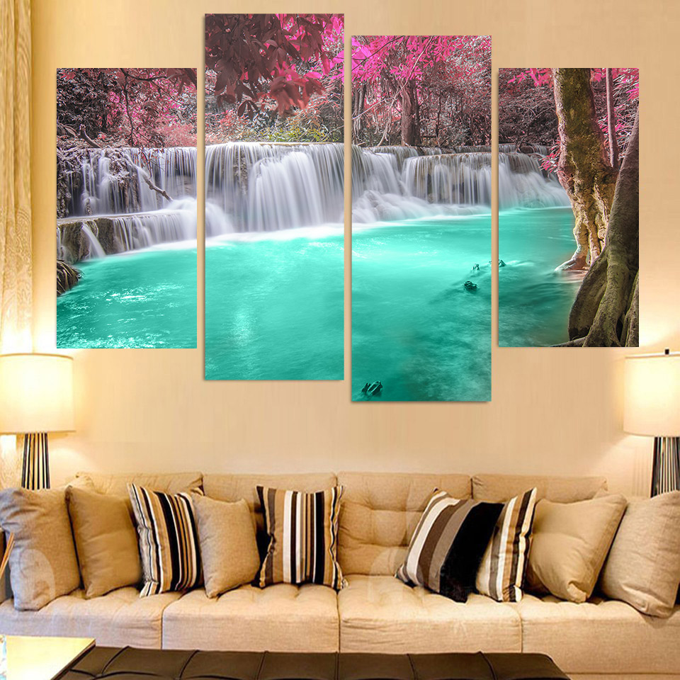 4 Piece Canvas Painting Waterfalls Pool HD Printed Canvas