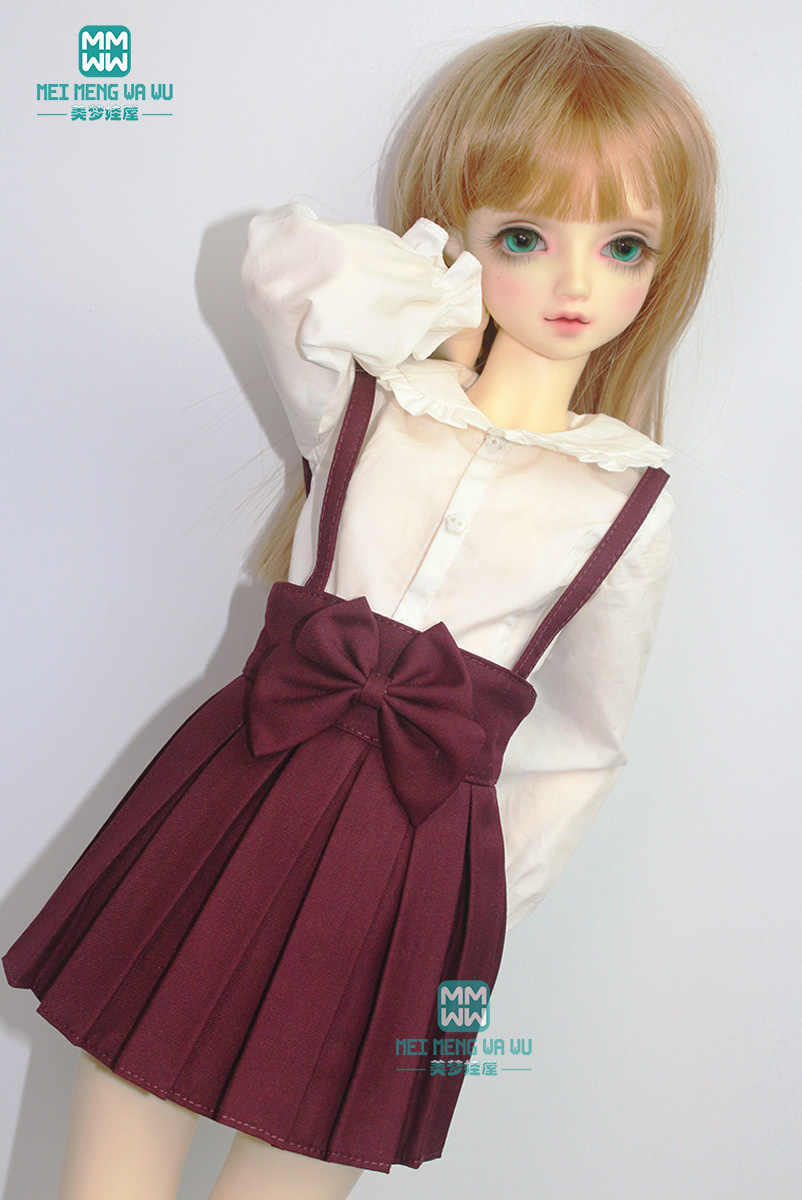 BJD pop kleding past 1/3 BJD pop mode elegante wijn rode sling plooirok