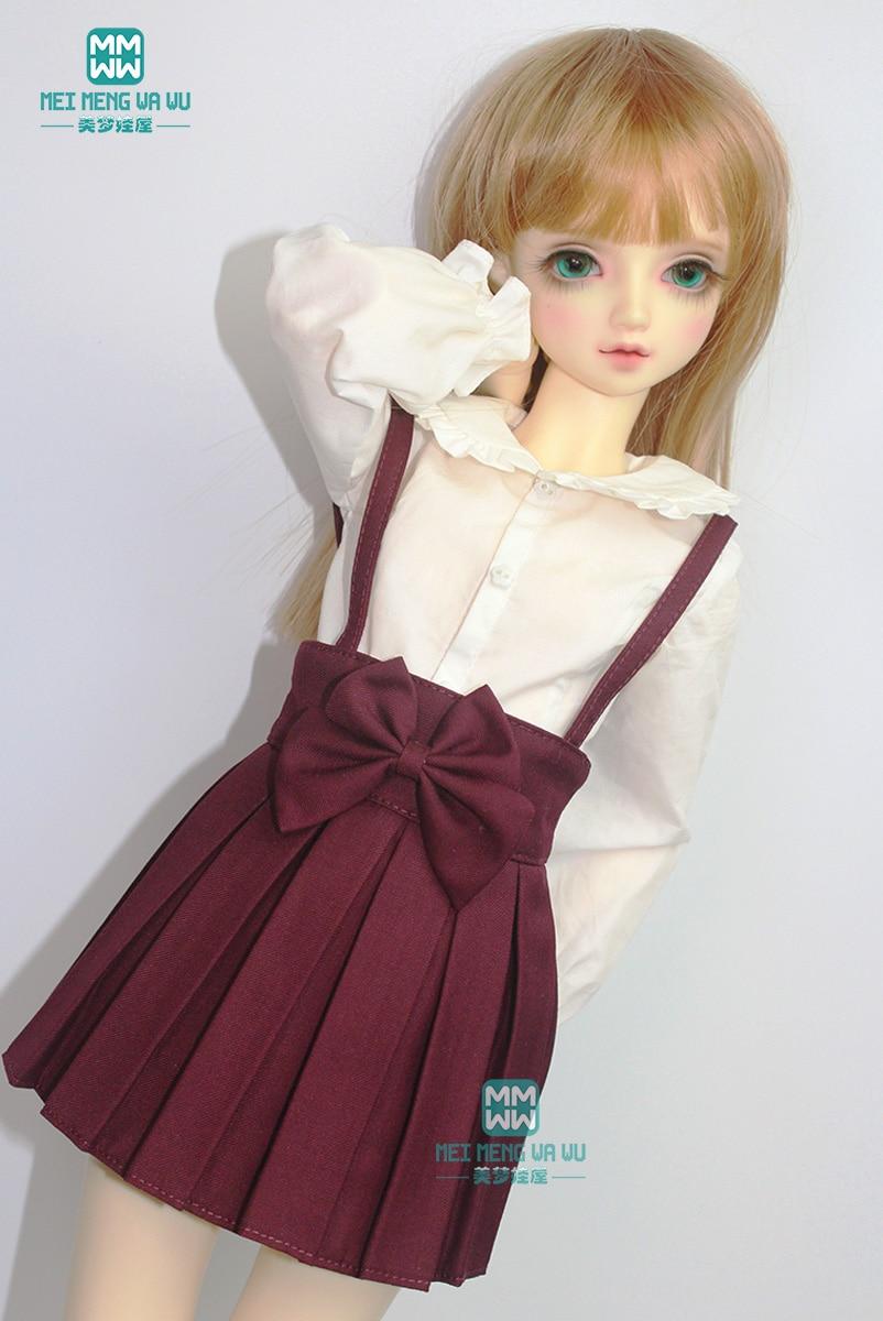 BJD Doll Clothes Fits 1/3 BJD Doll Fashion Elegant Wine Red Sling Pleated Skirt