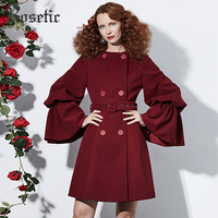 Rosetic Gothic Coat Vintage Women Autumn Ruffles Casual Overcoats Trench Retro Elegant Fashion Sexy Party Victorian Goth Coats