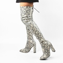 Fashion 2019 Women Snake Over Knee High Boots Winter Pu High Heels Boots 10 cm Pointed Toe Square Heel Warm Boots Shoes недорого