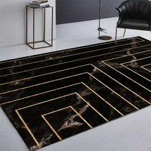 Fashion ins Imitation black marble Golden geometric line mat Digital printing carpet Non-slip bedside kitchen living room