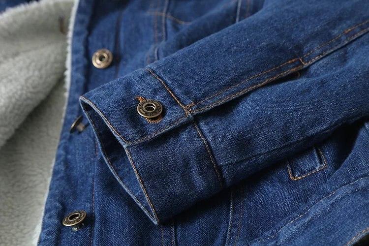 D'agneau Poches Qualité Femmes Bleu Chaud Hiver 2018 Haute Manches Jacke Manteau Outwear Automne Unique En Denim Nouveau Poitrine Laine Longues Jeans Ogdw8