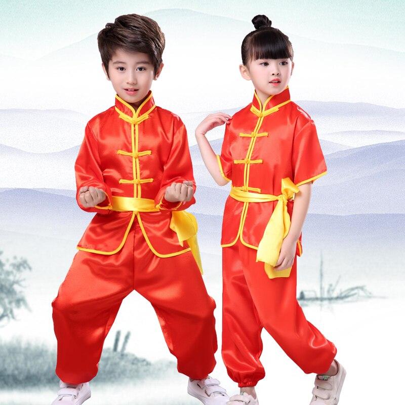Children'S Tracksuits Tai Chi Wushu Costumes Long Shorts Sleeves Martial Arts Clothing Healthy Men'S Sports Pants Taekwondo Suit