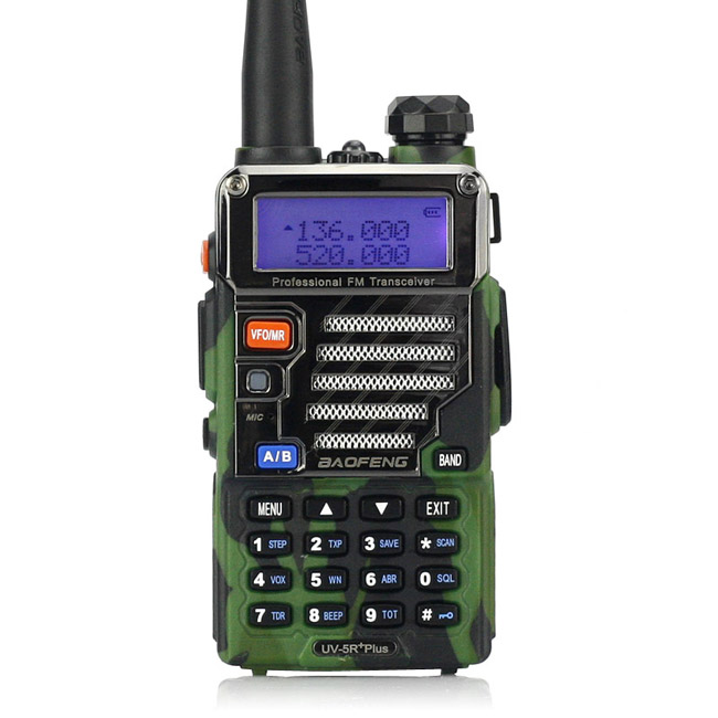 Baofeng UV-5R Plus Walkie Talkie Dual Band Two Way Radio 5W 128CH UHF VHF FM VOX Dual Display Ham Transceiver Camouflage