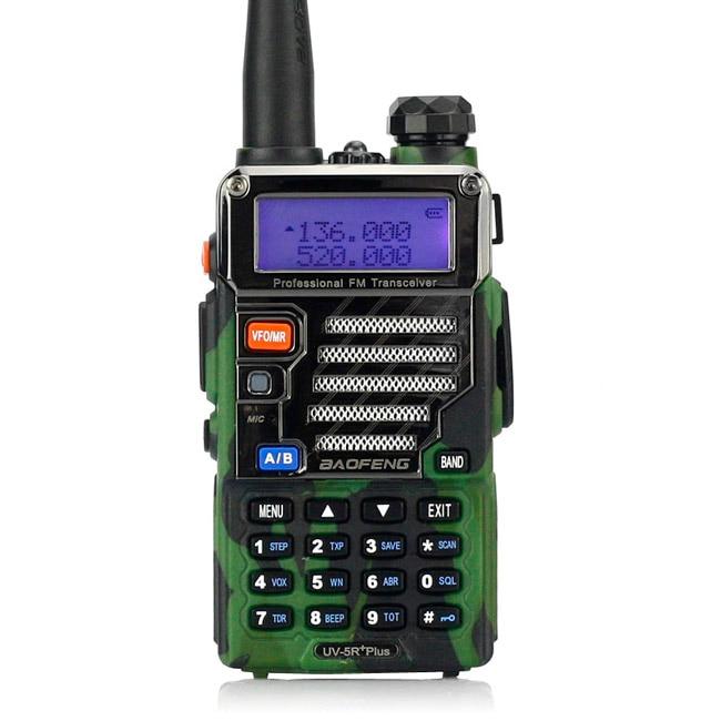 Baofeng UV-5R Plus Walkie Talkie Dual Band Two Way Radio 5W 128CH UHF VHF FM VOX Dual Display Ham Transceiver Camouflage