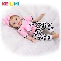 KEIUMI 22 Inch Lifelike Alive Baby Doll Soft Silicone 55cm Realistic Princess Girl Reborn Baby Doll Kids Children Birthday Gift