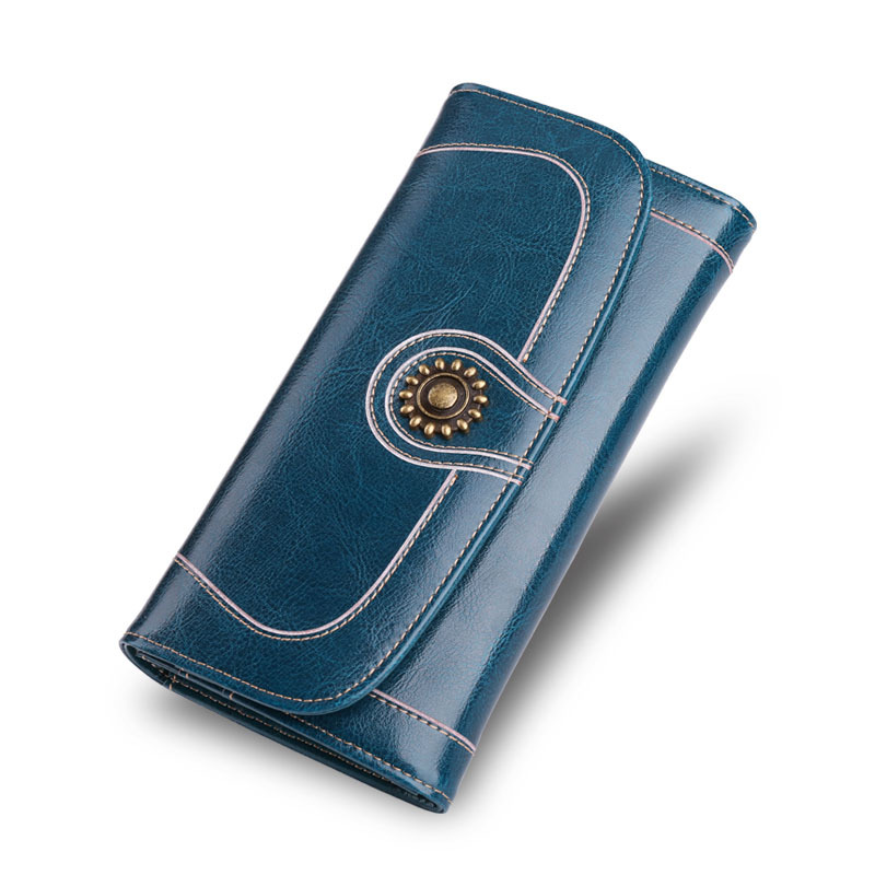 High Capacity Women Long Wallet Vintage Solid Coin Purse