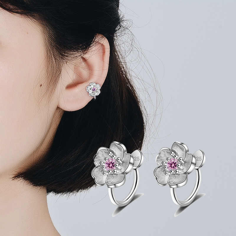 QIAMNI Korea Style Crystal Cherry Blossom Flower Cuff Clip-on Earrings No Piercing Pendientes Birthday Gift Christmas Jewelry
