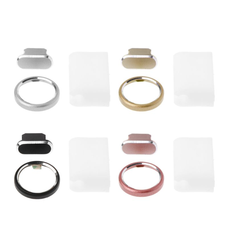 3 in 1 Dust Plug Charging Port Rear Back Camera Lens Protective Case Cover Cable Cord Holder Set Smart Phone Accessories iPhone