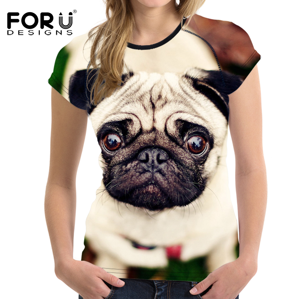 FORUDESIGNS Gray 3D Pug Dog Animal Woman Tops T-shirt Summer Short Sleeved Casual Shirt Women Slim Bodybuilding Feminine Clothes