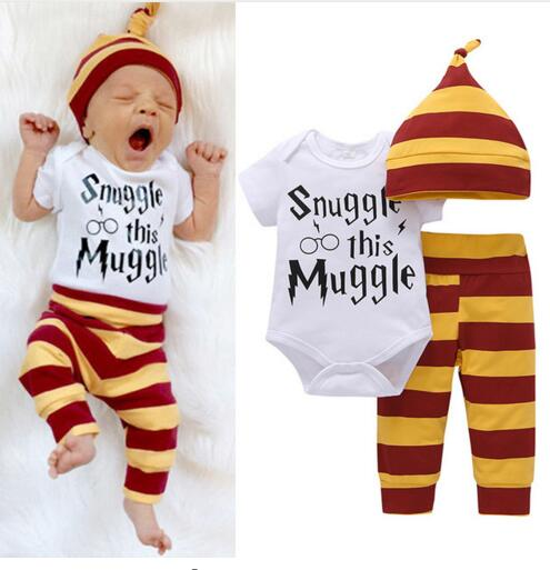 3PCS Baby Clothing Set Newborn Baby Boys Girls Letter MuggleTops Bodysuit+Stripe Pants+Hat Outfits Clothes 0-24M Super Cute купить недорого в Москве