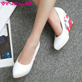 VINLLE 2017 Women Pumps Sexy Wedges Heel Spring Autumn Shoes High Heel Platform Shoes Slip on Women Wedding Shoes Big Size 34-43