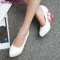 Vinlle 2017 mulheres bombas cunhas sensuais primavera outono sapatos de salto alto Plataforma do salto Sapatos Deslizar sobre As Mulheres Sapatos de Casamento Tamanho Grande 34-43