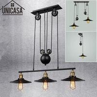 Loft Vintage Pendant Lights Bar Kitchen Home Decoration E27 Edison Light Fixtures Iron Pulley Lamp Nordic