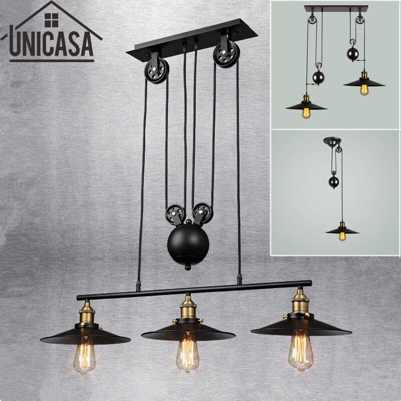 Loft vintage pendant lights Bar Kitchen Home Decoration E27 Edison Light Fixtures Iron Pulley Lamp Nordic Industrial Retro