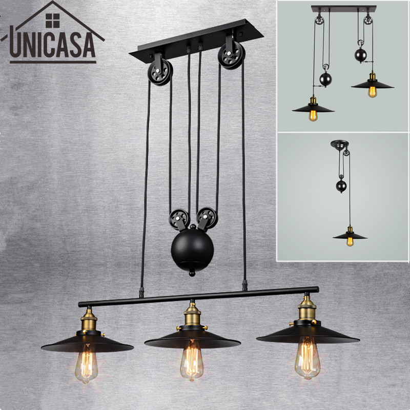 Loft vintage pendant lights  Bar Kitchen Home Decoration E27 Edison Light Fixtures Iron Pulley Lamp Nordic Industrial Retro edison inustrial loft vintage amber glass basin pendant lights lamp for cafe bar hall bedroom club dining room droplight decor