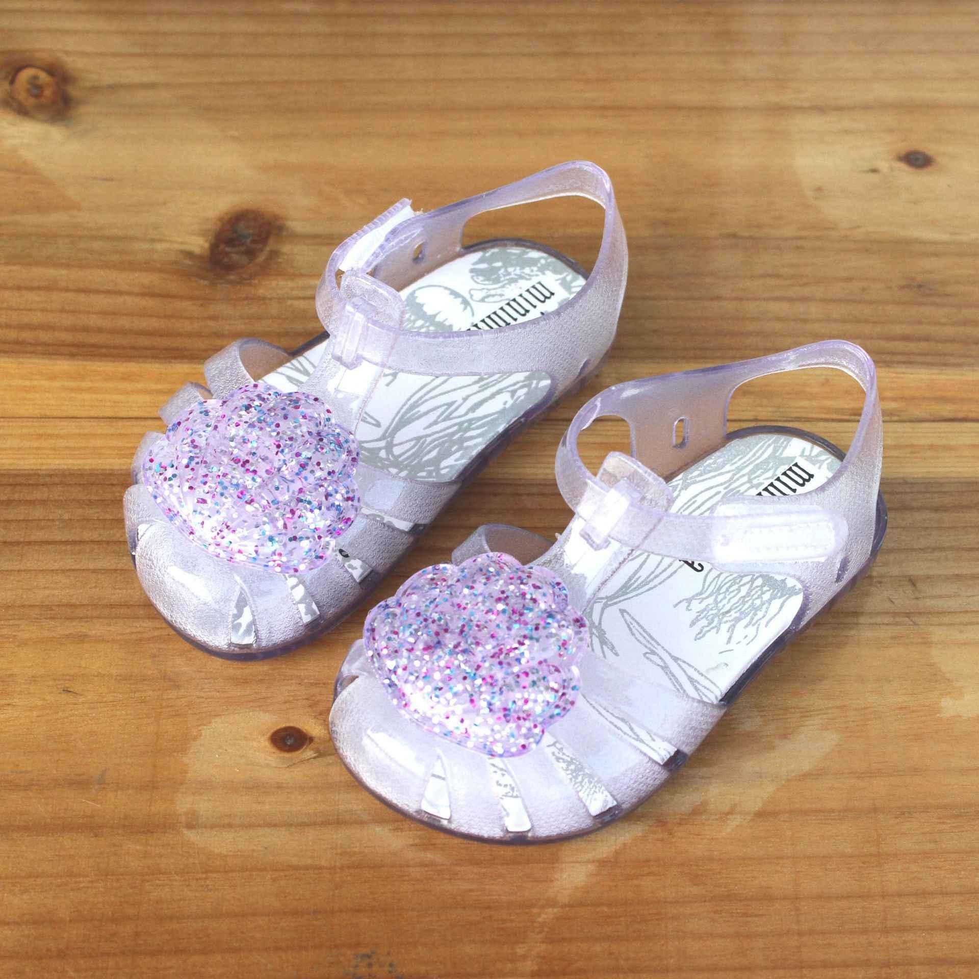 2019 Yeni Varış Çocuklar Mini Jöle Sandalet Bebek Kız Sevimli Kabuk Çocuk Yaz plaj ayakkabısı Infantil Sandalia PVC Baotou