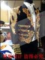 2016 Nueva Negro Trajes de Novio Esmoquin Hombres de Oro bordado matrimonio bar cantante etapa de estudio Largo Tailcoat Boda/Prom Chaqueta personalizado