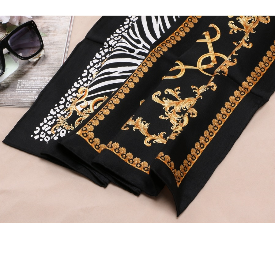 Image 3 - Fashion Prints 100% Silk Scarf Shawl Womens High Quality Hijab Head Scarves 88X88CM-in Women's Scarves from Apparel Accessories