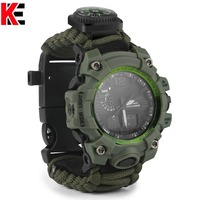 Outdoor Survival Watch Multi-functional Paracord Watch with Compass Whistle Thermometer Rescue Rope Survival Outdoor EDC Hunting