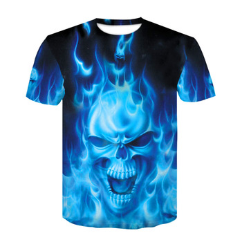 2019 Devin Du 3D color printed skull T-shirt fitness casual T-shirt with round neck and short sleeves for men and women 1