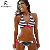Push Up Bikini Ladies Swimwear Female Swimsuit Women 2016 Brazilian Bikini Set Striped Bandage Beach Wear