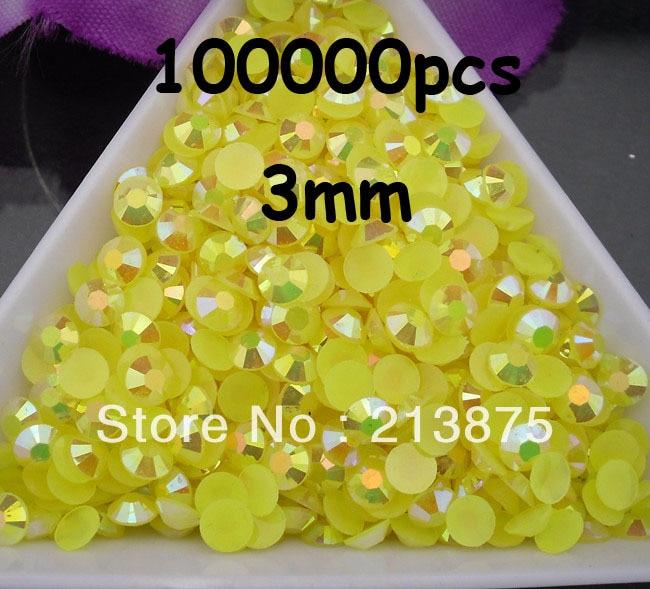 En gros grande quantité 100000 pièces citron jaune couleur magique AB gelée 3mm résine strass téléphone portable bâton perceuse SS12