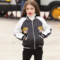 Teenager Girls Baseball Clothing Winter Coat Plus Cotton Padded Warm Children's Top Clothing Coat Black and White Kids Outerwear