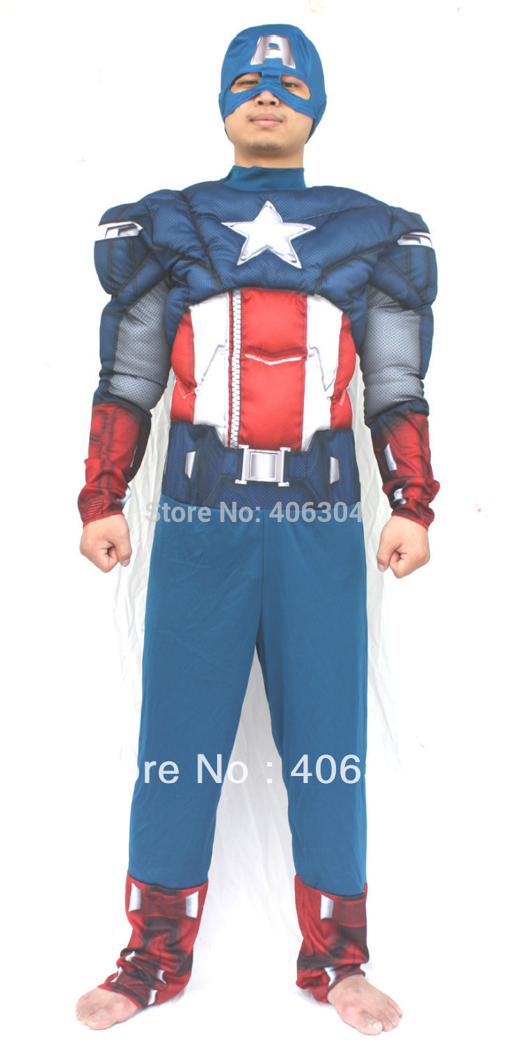 Free shipping,Adult America captain muscle party halloween costume Avenger hero clothing