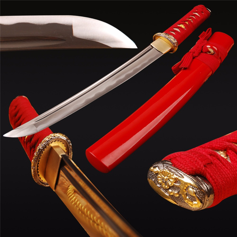 Iaido Training Japanese Samurai Tanto Sword Real Sharp Full Tang Cutting Practice Short Knife 1060 Carbon Steel Full Tang SwordIaido Training Japanese Samurai Tanto Sword Real Sharp Full Tang Cutting Practice Short Knife 1060 Carbon Steel Full Tang Sword