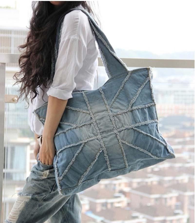 brand jeans bag 2015 denim big bags for women vintage motorcycle shoulder bags jeans blue. Black Bedroom Furniture Sets. Home Design Ideas