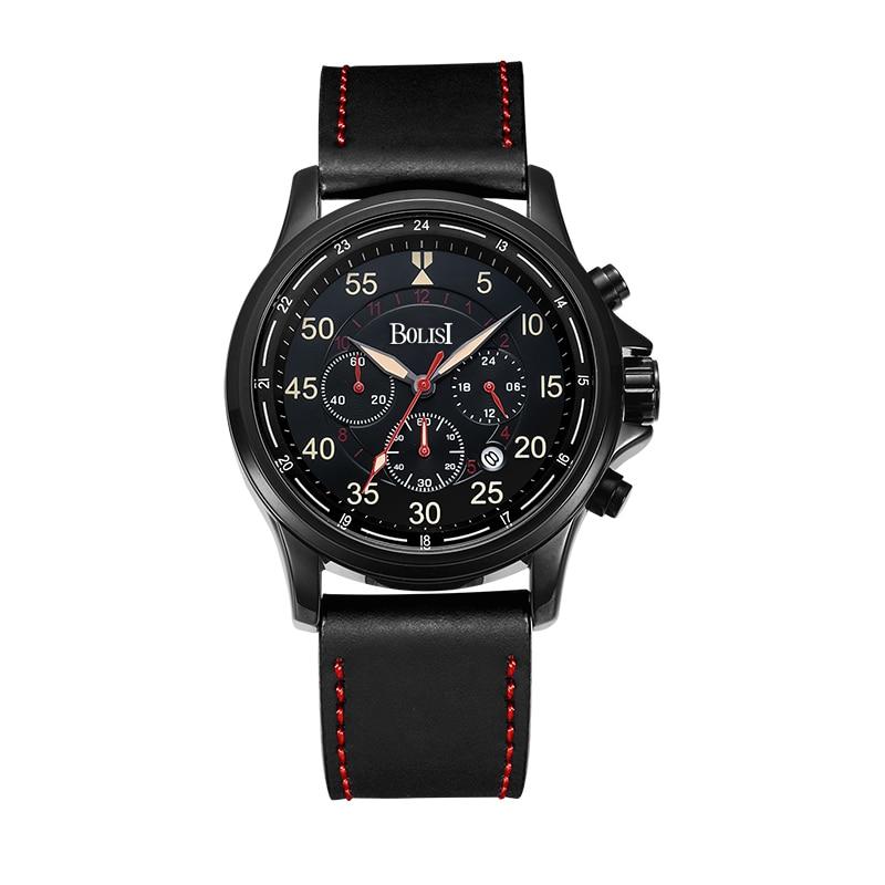 Men Top Brand Luxury Men font b Watches b font Men Waterproof Chronograph Leather Band Quartz