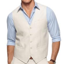Men Waistcoat Custom Made Men Linen Vest Tailor Made Wedding Men Vest Suit Vest Groom Dress cheap Vests dower me COTTON Formal Twill Reference Images