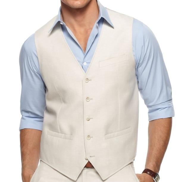 ผู้ชาย Waistcoat, Custom Made ผู้ชายผ้าลินิน, Tailor Made งานแต่งงานเสื้อกั๊ก, ชุดเสื้อกั๊กชุดเจ้าบ่าว-ใน เสื้อกั๊ก จาก เสื้อผ้าผู้ชาย บน   1