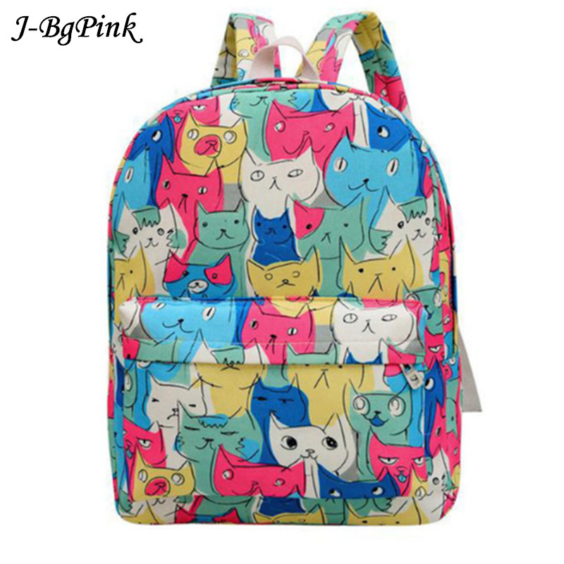 2018 New Women's Canvas Backpack Teenager Girls' Cute School Bags Lady's Cartoon Cats Backpacks Casual Travel Racksuck new woman shoulder bags cute canvas women big bags literature and art cartoon girls small fresh bags casual tote