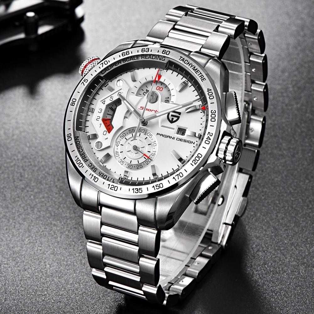 PAGANI projekt luksusowe wojskowy chronografu zegarki sportowe męskie zegarki kwarcowe moda wodoodporna Big Dial męskie biznes prezent zegarek na rękę w Zegarki kwarcowe od Zegarki na  Grupa 2