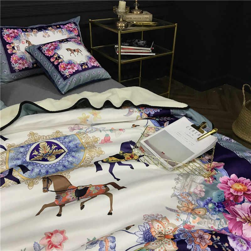 Королевский дворец элегантное одеяло с лошадью мягкий фланелевый диван ягненок бархат кидает 150x200 см и 200*230 см украшение домашнего интерьера