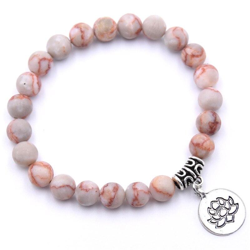 Natural Stone Lotus Buddha Beads Bracelet Matte Amazonite Mala Beads bracelets bangles For Women Men Yoga bracelet femme homme 16