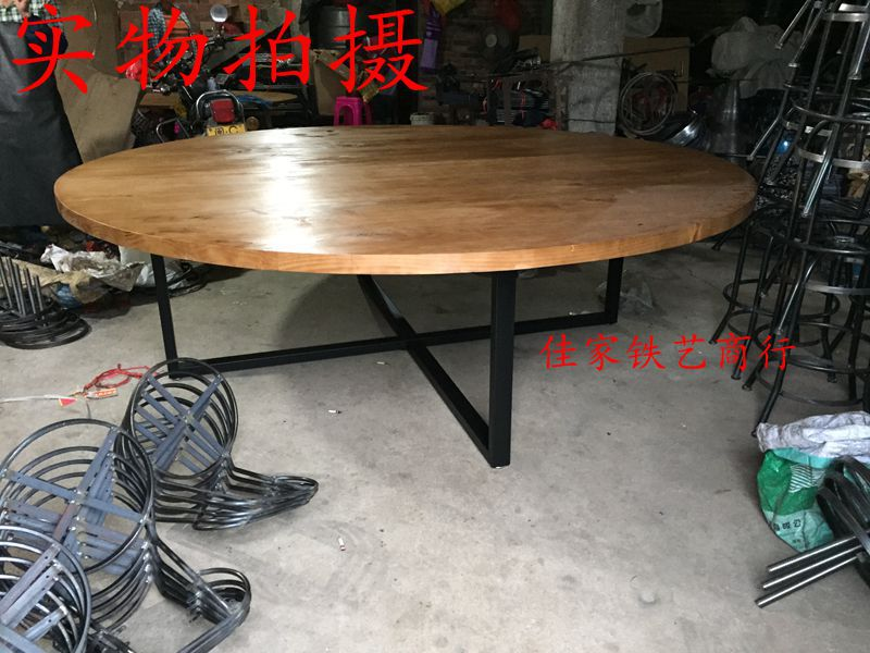 American Industrial Round Wood Table Big Round Table And Cheap Iron Idyllic  Rural Small Round Occasional Tables In Dining Tables From Furniture On ...