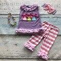 Bebé chicas conejito de pascua ropa niños top morado con tira capri pant trajes niñas conjuntos de fiesta de pascua con accesorios